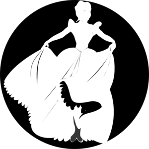 White Princess Silhouette In Black Background Clip Art