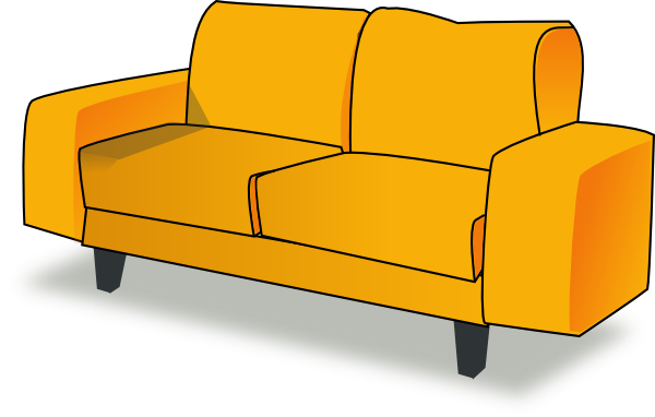 Yellow couch clip art at vector clip art for Meuble tv en verre transparent
