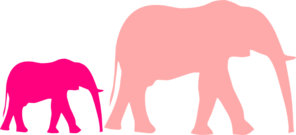 Pink Baby Shower Elephant Mom And Baby Clip Art