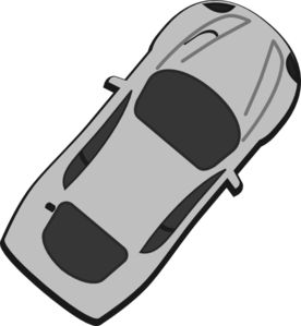 Gray Car - Top View - 50 Clip Art