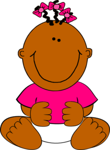 Brown Baby Girl Sitting Clip Art