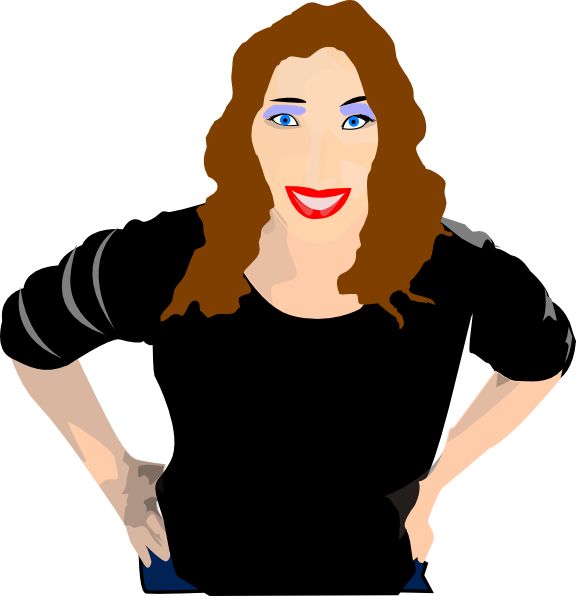 Girl brown hair. With staring clip art