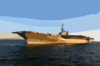 Tugboats Tow The Decommissioned Aircraft Carrier Uss Midway Into The San Diego Bay. Clip Art