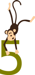Monkey With Number Clip Art
