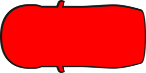 Red Car Outline - Top View  Clip Art