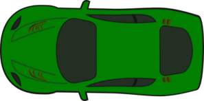 Green Car - Top View Heading West Clip Art