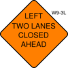 Left Two Lanes Closed Ahead Clip Art
