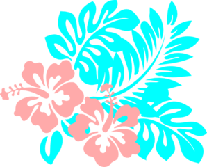 Hibiscus Coral And Aqua Clip Art
