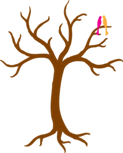 Bare Tree With Love Birds Large Clip Art