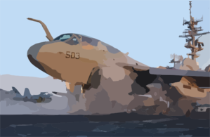 An Ea-6b Prowler Assigned To The Gauntlets Of Electronic Attack Squadron One Three Six (vaq-136) Stands Ready On One Of Two Steam Catapults On The Bow Clip Art