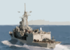 The Guided Missile Frigate Uss Ingraham (ffg 61) Sails Away After Completing A Replenishment At Sea (ras). Clip Art