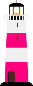 Pink And White Lighthouse Clip Art