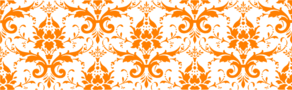 Damask Orange On White Clip Art