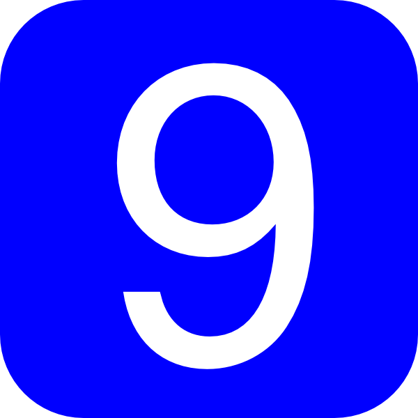 Blue  Rounded  Square With Number 9 Clip Art At Clker Com