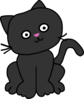 Black Cat With Tilted Head Clip Art