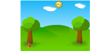 Two Trees Green Field Sun Clip Art