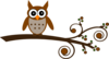 Brown Owl On Branch Clip Art