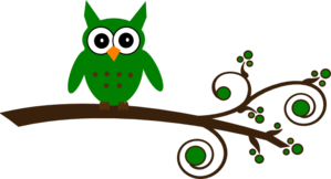 Green Owl On Branch Clip Art