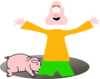 Kid In A Hole With Pig Clip Art