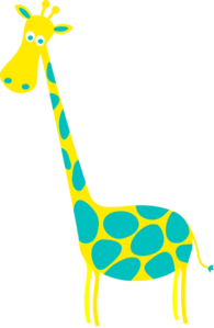 Giraffe Yellow With Teal Dots Clip Art