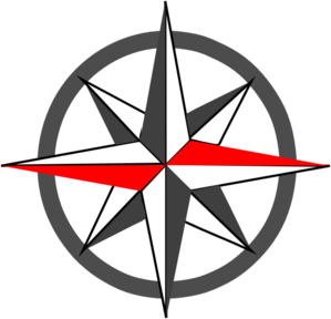 Red Grey Compass Spiky Clip Art