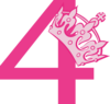 4th Birthday Pink Tiara Clip Art