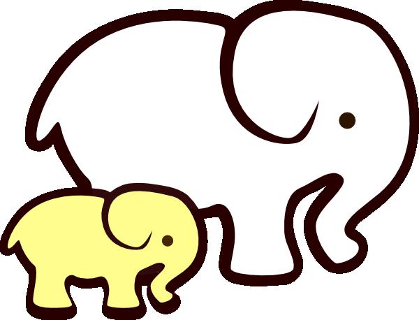 Yellow White Elephant Mom Amp Baby Clip Art At Clker Com