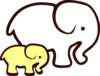 Yellow/white Elephant Mom & Baby Clip Art