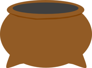 Brown Pot Dark Grey Inside Clip Art