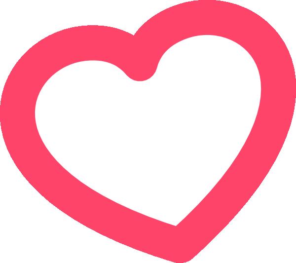 Red Outline Heart 7degree Left Clip Art at Clker.com ...