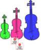 Colorful Violins Clip Art
