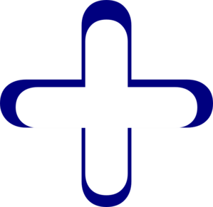 White And Blue Addition Symbol Clip Art