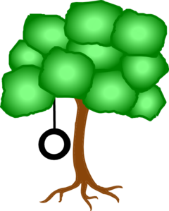 Tree With Swing Further Away Clip Art