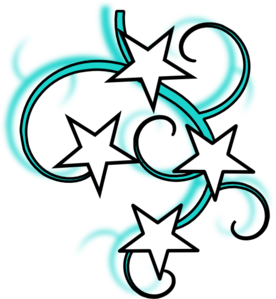 Teal And White Tattoo With Stars Black Outline Clip Art at ...