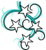 Teal And White Tattoo With Stars Black Outline Clip Art