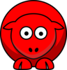 Sheep Looking Straight Red Clip Art