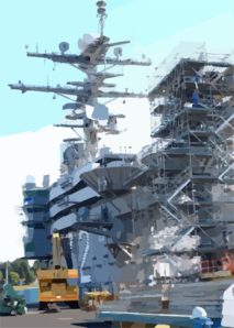 The Flight Deck Of The Uss Abraham Lincoln (cvn 72) Is Transformed Into A Construction Site During A Planned Incremental Availability Clip Art