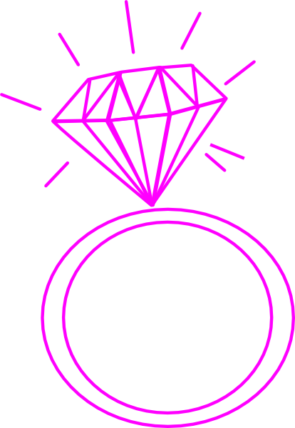 Diamond Ring- Fushia Pink Clip Art at Clker com - vector clip art    Diamond Ring Silhouette