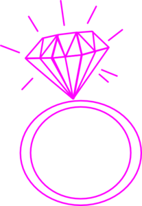 Diamond Ring- Fushia Pink Clip Art