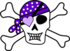 Purple Pirate Cross Bones Clip Art