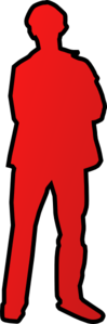 Person Outline - Red Black Clip Art