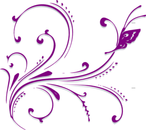 Purple Butterfly Scroll Clip Art