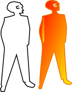 Orange Man Silohouette, Hands In Pockets Clip Art