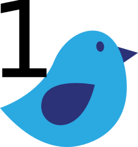 Blue Bird With #1 Clip Art