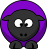 Sheep Looking Crosseyed Purple  Clip Art