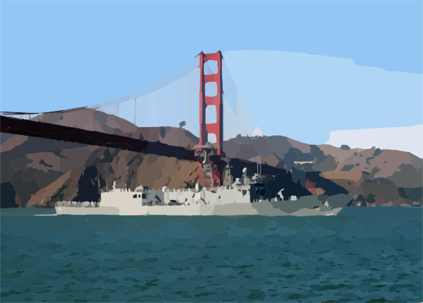 golden gate bridge drawing. 2011 Golden Gate Bridge Detail