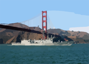 Uss Sides Passes Under Golden Gate Bridge. Clip Art
