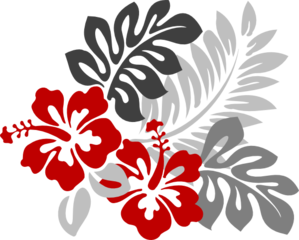 Red And Grey Hibiscus Clip Art