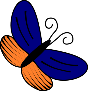 Blue And Orange Butterfly Clip Art