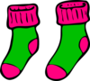 Green Pink Sock Clip Art